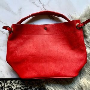 Leather Red Tote Bag